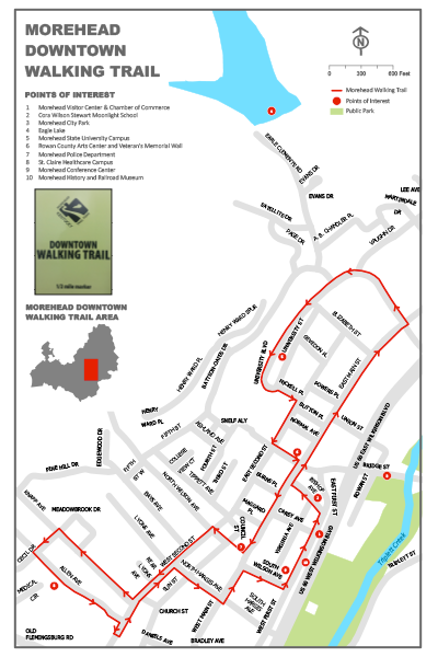 Morehead Downtown Walking Trail map